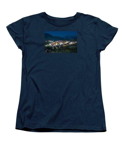 Crested Butte Village Under Full Moon Women's T-Shirt (Standard Cut) by Michael J Bauer