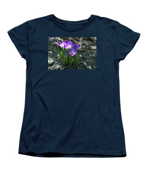 Crocus In Bloom #2 Women's T-Shirt (Standard Cut) by Jeff Severson