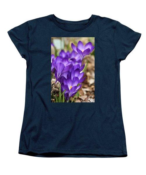 Women's T-Shirt (Standard Cut) featuring the photograph Crocuses by Larry Ricker