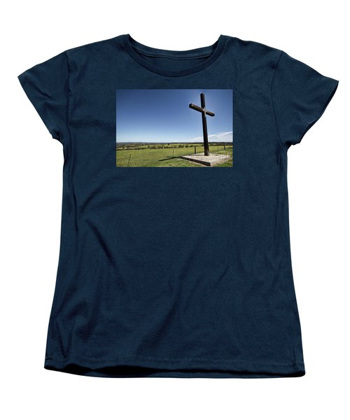 Women's T-Shirt (Standard Cut) featuring the photograph Cross On The Hill V3 by Douglas Barnard