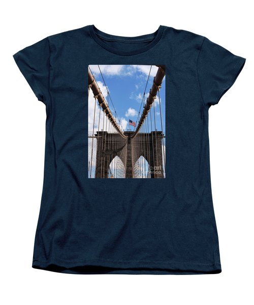 Women's T-Shirt (Standard Cut) featuring the photograph Crossing The Brooklyn Bridge by Judy Wolinsky