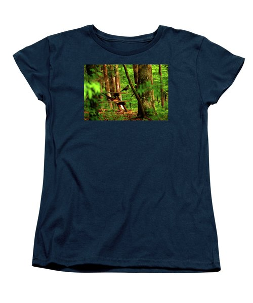 Women's T-Shirt (Standard Cut) featuring the photograph Crow On A Table by Andy Lawless