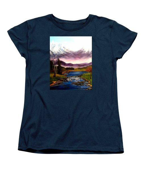 Women's T-Shirt (Standard Cut) featuring the painting Crystal Lake With Snow Capped Mountains by Kimberlee Baxter