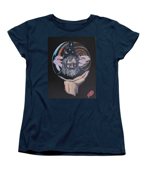 Women's T-Shirt (Standard Cut) featuring the drawing Crystal Wizard by Michael  TMAD Finney