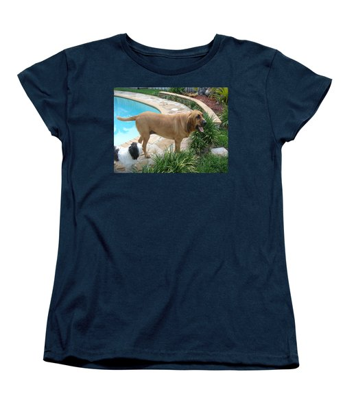 Cujo And Lucky By The Pool Women's T-Shirt (Standard Cut) by Val Oconnor