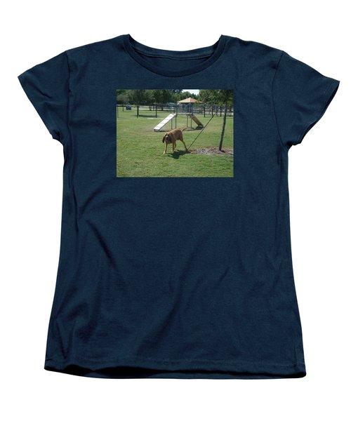 Cujo Running At The Park Women's T-Shirt (Standard Cut) by Val Oconnor