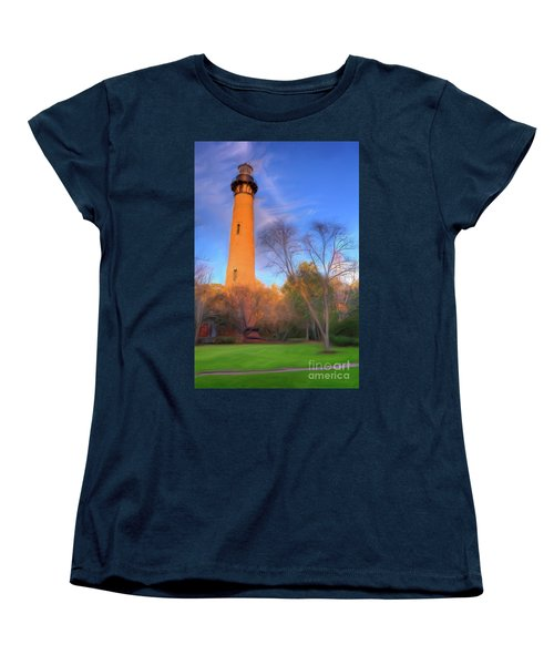 Women's T-Shirt (Standard Cut) featuring the painting Currituck Lighthouse In Winter Outer Banks Ap by Dan Carmichael