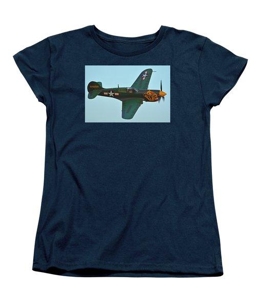 Women's T-Shirt (Standard Cut) featuring the photograph Curtiss P-40k Warhawk N401wh Chino California April 29 2016 by Brian Lockett