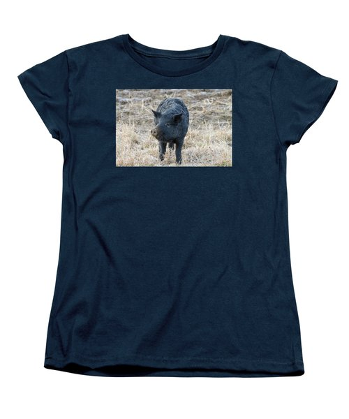 Women's T-Shirt (Standard Cut) featuring the photograph Cute Black Pig by James BO Insogna
