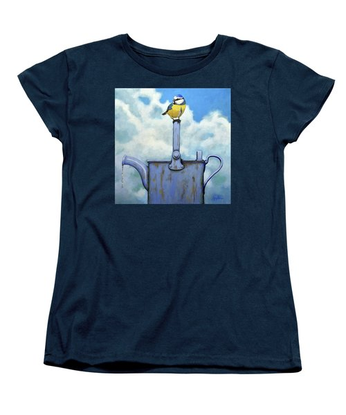 Cute Blue-tit Realistic Bird Portrait On Antique Watering Can Women's T-Shirt (Standard Cut) by Linda Apple