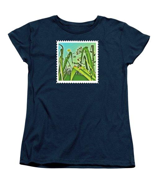 Cute Frog Camouflaged In The Garden Jungle Women's T-Shirt (Standard Cut) by Elaine Plesser