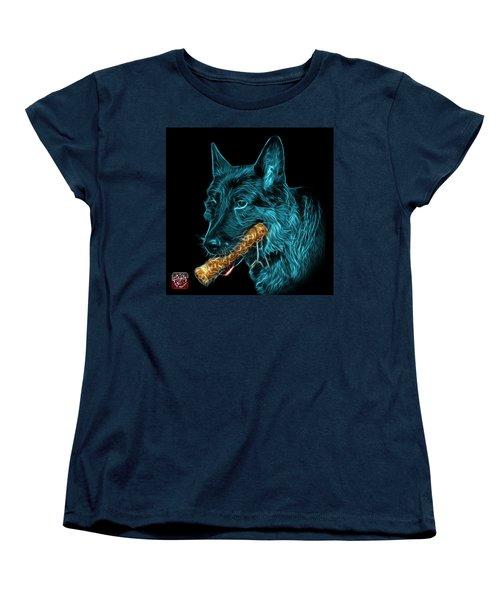 Women's T-Shirt (Standard Cut) featuring the digital art Cyan German Shepherd And Toy - 0745 F by James Ahn