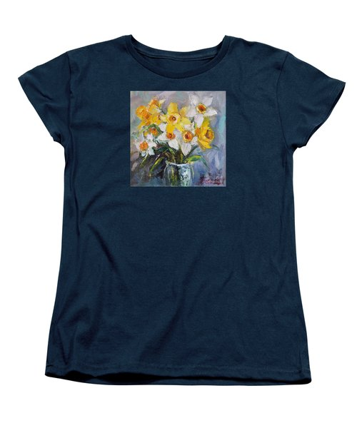 Women's T-Shirt (Standard Cut) featuring the painting Daffodil In Spring  by Jennifer Beaudet