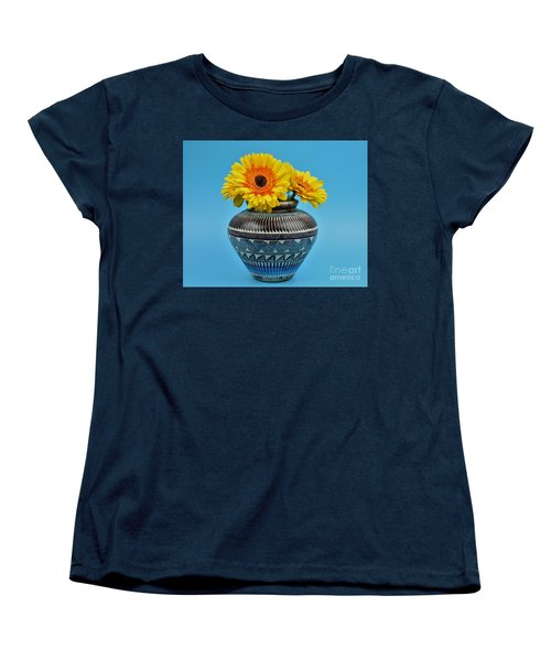 Daisies Displayed In Navajo Native American Vase Women's T-Shirt (Standard Cut) by Ray Shrewsberry