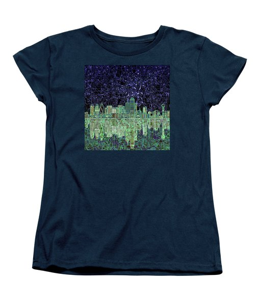 Dallas Skyline Abstract 4 Women's T-Shirt (Standard Cut) by Bekim Art