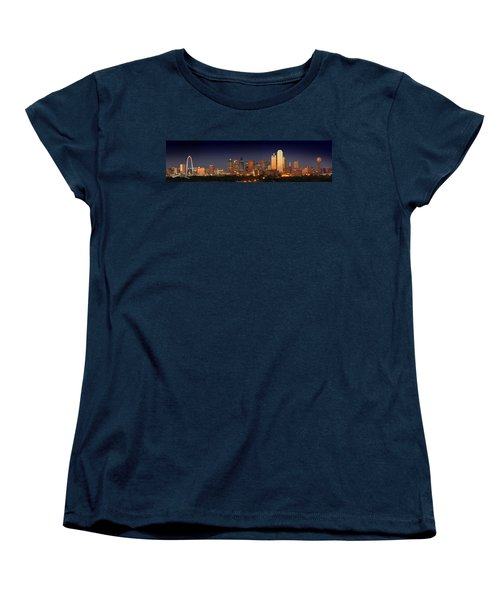 Dallas Skyline At Dusk  Women's T-Shirt (Standard Cut) by Jon Holiday