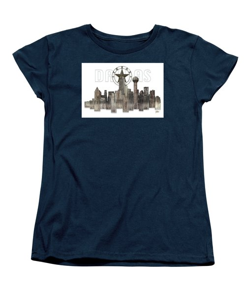 Women's T-Shirt (Standard Cut) featuring the digital art Dallas Texas Skyline by Doug Kreuger