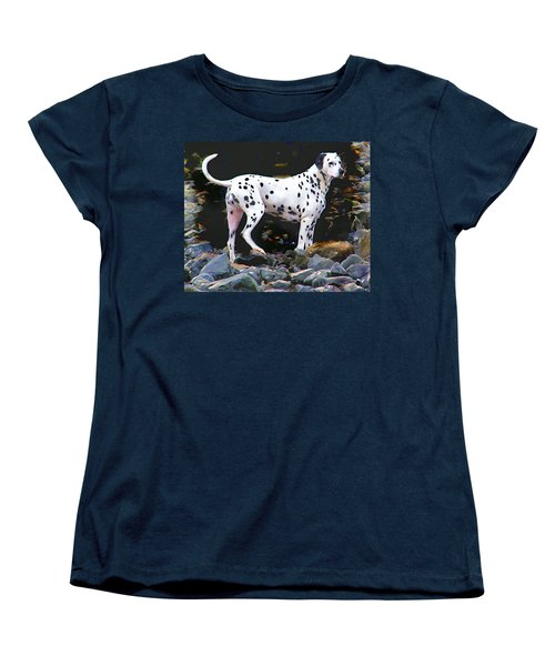 Women's T-Shirt (Standard Cut) featuring the photograph Dalmatian On The Rocks by Wendy McKennon