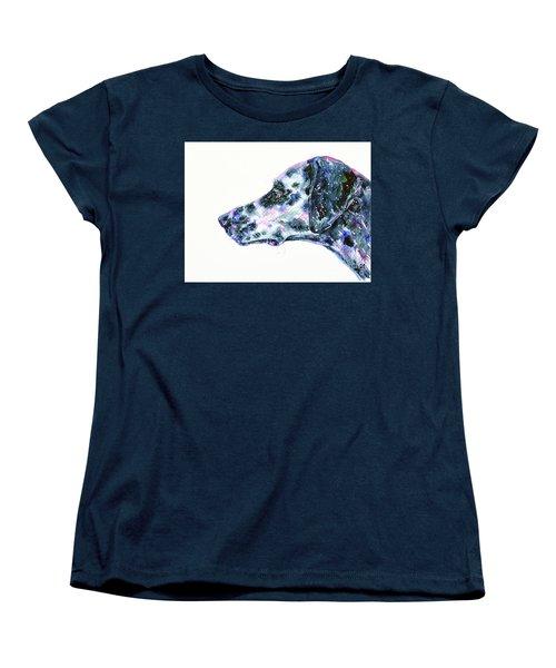 Women's T-Shirt (Standard Cut) featuring the painting Dalmatian by Zaira Dzhaubaeva