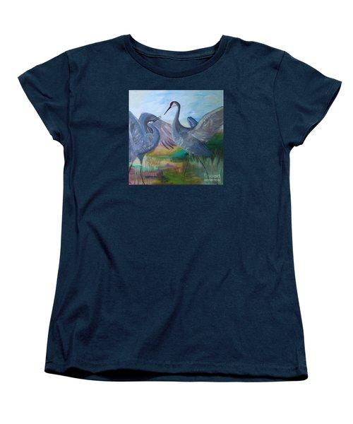 Dancing Cranes Women's T-Shirt (Standard Cut) by Robin Maria Pedrero