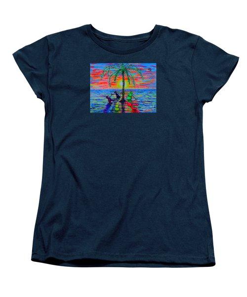 Women's T-Shirt (Standard Cut) featuring the painting Dancing Snowman by Viktor Lazarev