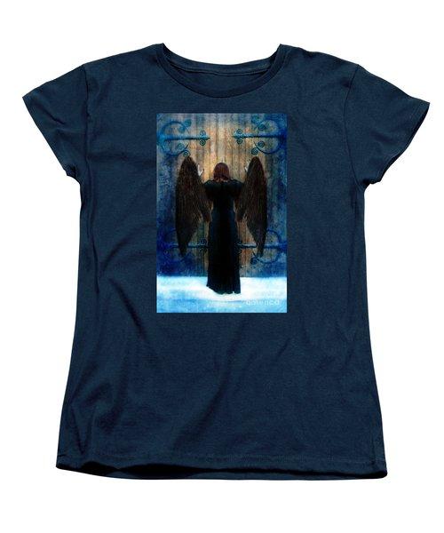 Dark Angel At Church Doors Women's T-Shirt (Standard Cut) by Jill Battaglia