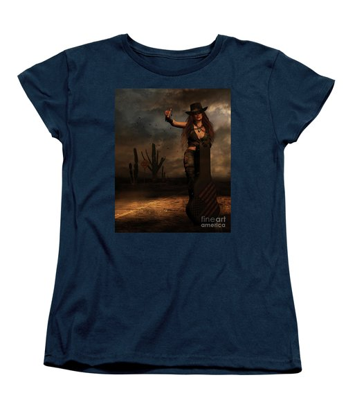 Women's T-Shirt (Standard Cut) featuring the digital art Dark Desert Highway by Shanina Conway