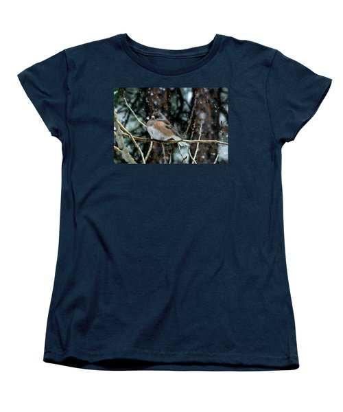 Dark-eyed Junco During A Snowfall Women's T-Shirt (Standard Cut) by Marilyn Burton
