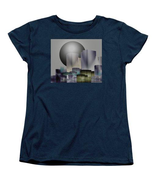 Women's T-Shirt (Standard Cut) featuring the digital art Dark Moon Over The City by John Krakora