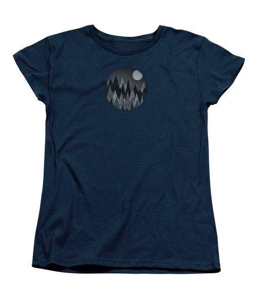 Dark Mystery Abstract Geometric Triangle Peak Woods Black And White Women's T-Shirt (Standard Cut) by Philipp Rietz