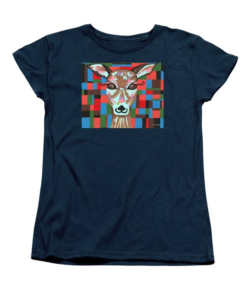 Women's T-Shirt (Standard Cut) featuring the painting Darling Deer by Kathleen Sartoris