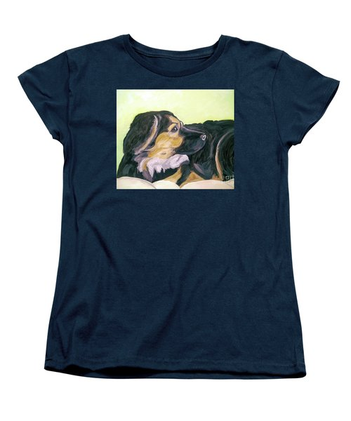 Women's T-Shirt (Standard Cut) featuring the painting Date With Paint Sept 18 1 by Ania Milo