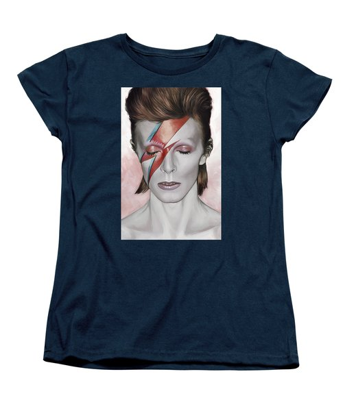 Women's T-Shirt (Standard Cut) featuring the painting David Bowie Artwork 1 by Sheraz A