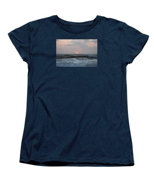 Women's T-Shirt (Standard Cut) featuring the photograph Dawn's Crashing Seas by Robert Banach