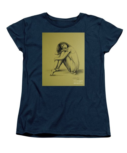 Women's T-Shirt (Standard Cut) featuring the drawing Day Dreaming by Elena Oleniuc