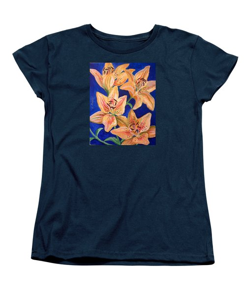Women's T-Shirt (Standard Cut) featuring the painting Day Lilies by Laura Aceto