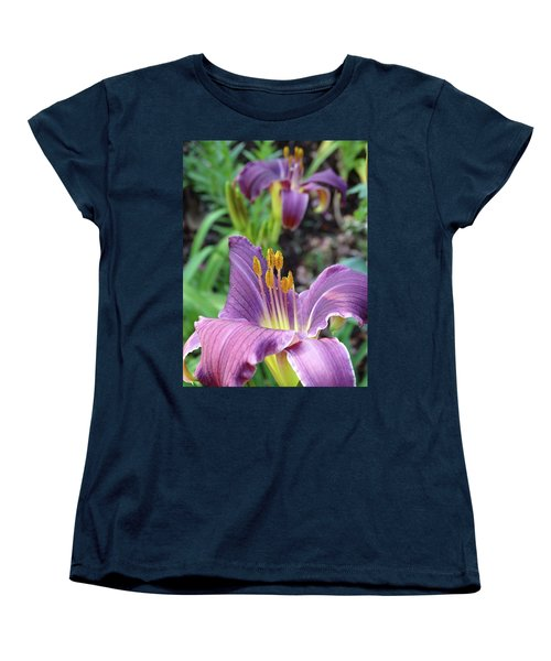 Women's T-Shirt (Standard Cut) featuring the photograph Daylilies In Purple by Rebecca Overton