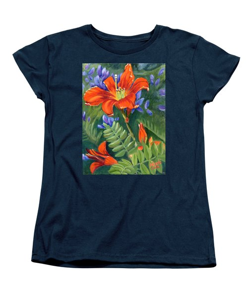Women's T-Shirt (Standard Cut) featuring the painting Daylilies by Renate Nadi Wesley