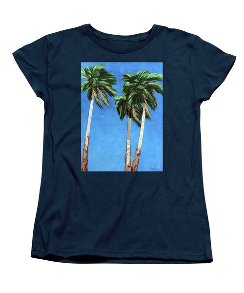 Women's T-Shirt (Standard Cut) featuring the painting Daytime Moon In Palm Springs by Linda Apple