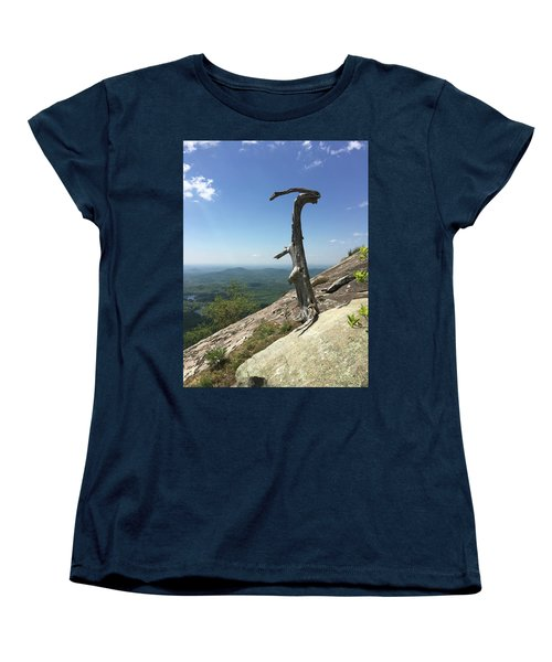 Decaying Tree At The Top Of Table Rock Trail South Carolina Women's T-Shirt (Standard Cut) by Kelly Hazel
