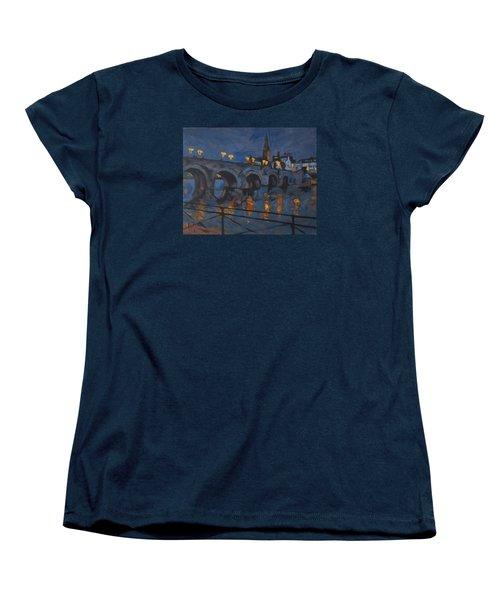 December Lights Old Bridge Maastricht Acryl Women's T-Shirt (Standard Cut) by Nop Briex