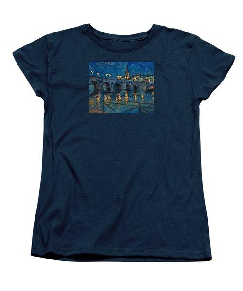 December Lights Old Bridge Maastricht Women's T-Shirt (Standard Cut) by Nop Briex