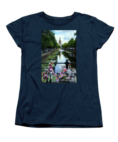 Women's T-Shirt (Standard Cut) featuring the photograph Canal And Decorated Bike In The Hague by RicardMN Photography
