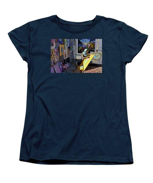 Deep Elum - Artist At Work  Women's T-Shirt (Standard Cut) by Allen Sheffield
