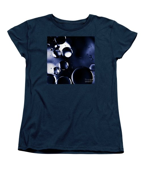 Women's T-Shirt (Standard Cut) featuring the photograph deep purple blue tones Macro Water Droplets by Sharon Mau