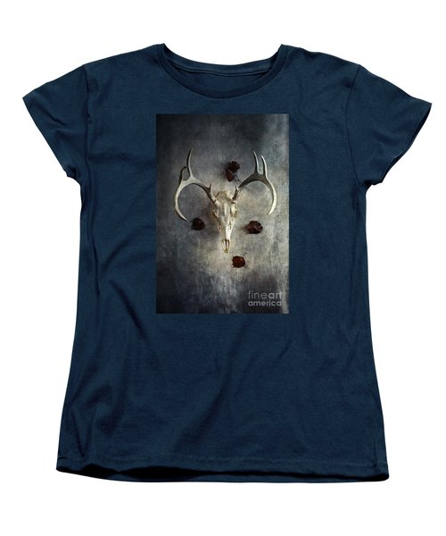 Deer Buck Skull With Fallen Leaves Women's T-Shirt (Standard Cut) by Stephanie Frey