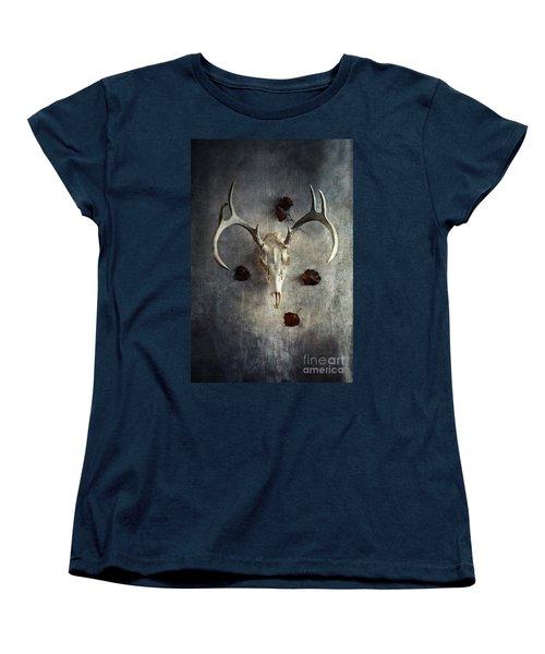Deer Buck Skull With Fallen Leaves Women's T-Shirt (Standard Cut)