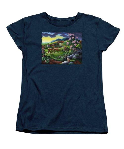 Deer Chipmunk Summer Appalachian Folk Art - Rural Country Farm Landscape - Americana  Women's T-Shirt (Standard Cut) by Walt Curlee