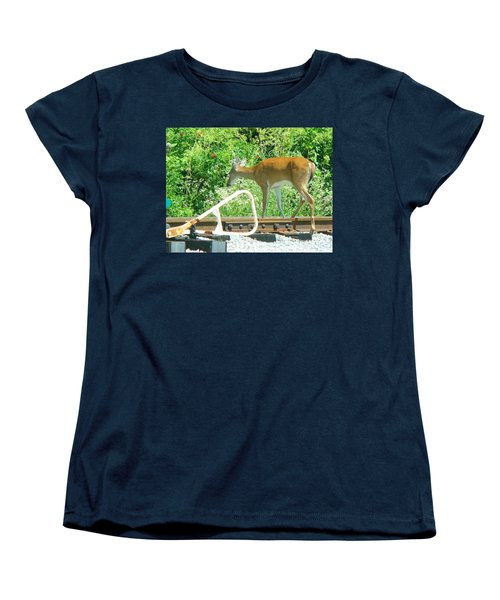 Deer Crossing Women's T-Shirt (Standard Cut) by J R Seymour