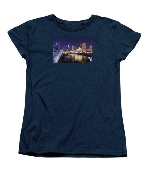 Women's T-Shirt (Standard Cut) featuring the photograph Deer View Columbus by Alan Raasch
